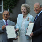 Professor Ashley Mowat and Mr Vinaykant Ruparelia with Commissions for Deputy Lieutenant of the county of Banffshire.