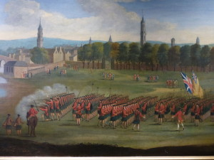 Black Watch recruits being reviewed on Glasgow Green, c.1758