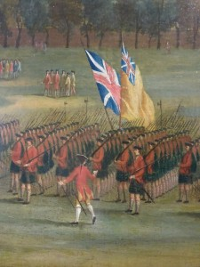 Details from Black Watch recruits being reviewed on Glasgow Green, c.1758